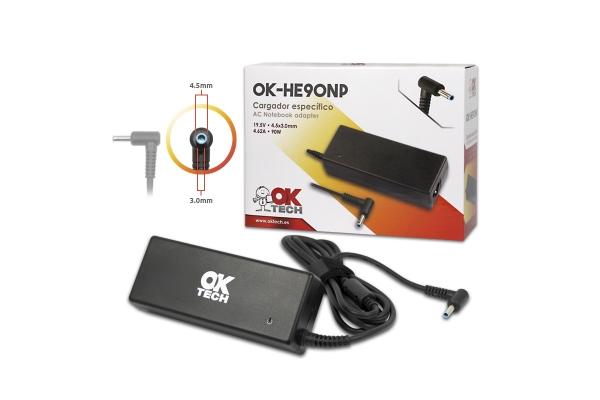 CARGADOR ESPECIFICO OKTECH HP OK-HE90NP 90W 19.5V 4.62A 4.5 MM X 3.0 MM