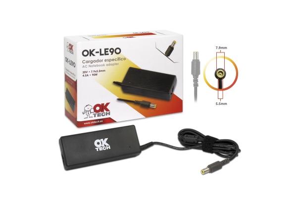 CARGADOR ESPECIFICO OKTECH LENOVO OK-LE90 90W 20V 4.5A 7.9 MM X 5.5 MM