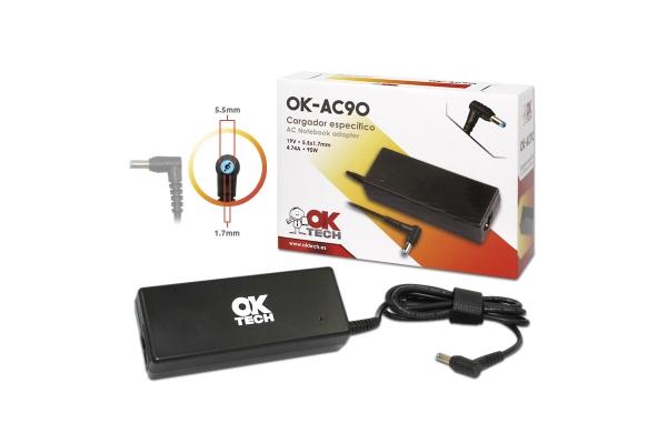 CARGADOR ESPECIFICO OKTECH ACER OK-AC90 90W 19V 4.7A  5.5 MM X 1.7 MM