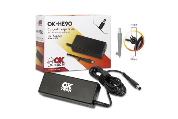 CARGADOR ESPECIFICO OKTECH HP-COMPAQ OK-HE90 90W 19V 4.74A  7.4 MM X 5.0 MM