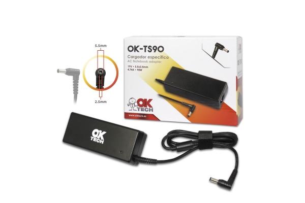 CARGADOR ESPECIFICO OKTECH TOSHIBA OK-TS90 90W 19V 4.7A  5.5 MM X 1.7 MM