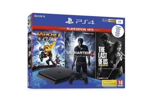 PLAYSTATION 4 SLIM 1TB + 3 JUEGOS RATCHET & CLANK  UNCHARTED 4 THE LAST OF US