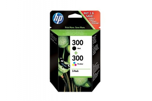 PACK 2 CARTUCHOS HP TINTA ORIGINAL NEGRO Y TRICOLOR 300