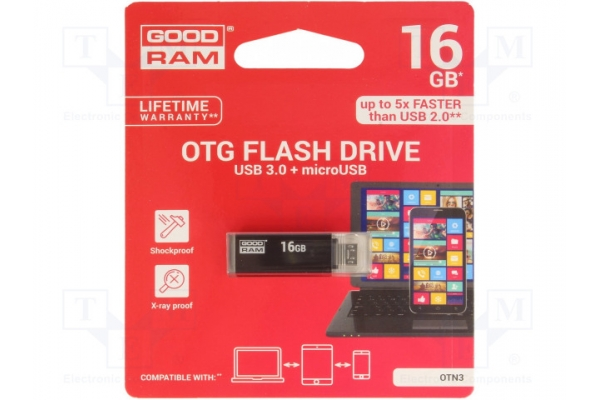 PEN DRIVE 16GB GOODRAM OTN3 3.1 NEGRO