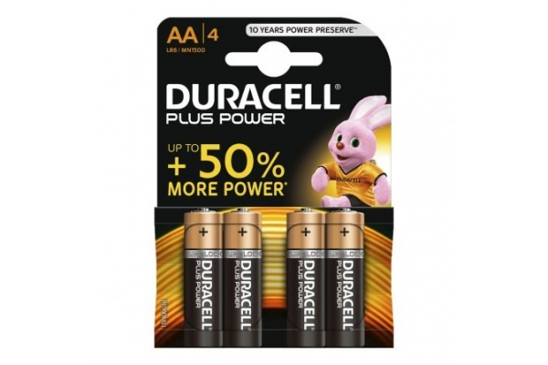 PACK DE 4 PILAS AA DURACELL PLUS POWER LR6 1.5V ALCALINA