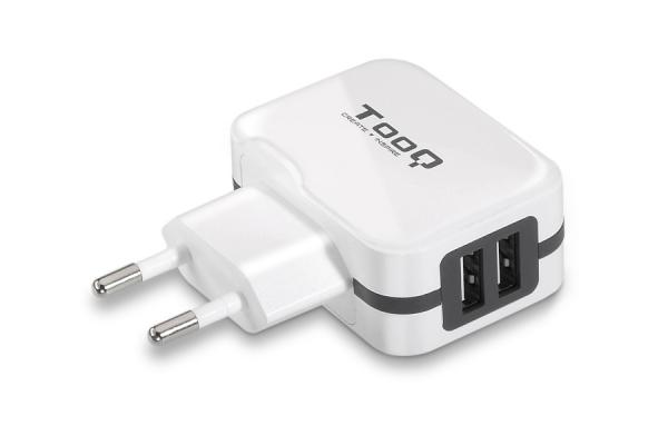CARGADOR USB DE VIAJE PARED 2xUSB (3.4A) BLANCO TOOQ