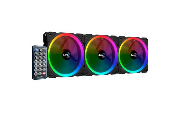 KIT 3 VENTILADORES INTERNO RGB AEROCOOL ORBIT RC 12x12mm ULTRASILENCIOSOS TRIPEL ILUMINACION RGB-A Y MANDO DISTANCIA