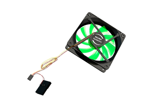 VENTILADOR INTERNO MARS GAMING 12x12 LED DE COLOR VERDE 14DB FLUXUS BEARING AIR-GUIDE BAJO RUIDO