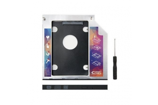 ADAPTADOR PORTATIL NANOCABLE PARA SUSTITUIR DVD 12,7MM POR SSD 2.5