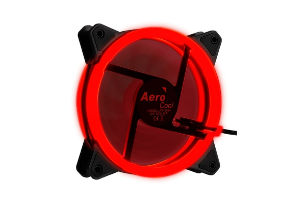 VENTILADOR INTERNO AEROCOOL REV RED 12x12MM ULTRASILENCIOSO ILUMINACION DOBLE ANILLO LED RED