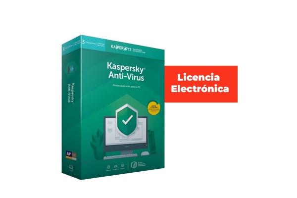 ANTIVIRUS KASPERSKY 3 USUARIOS 1 AÑO LICENCIA ELECTRONICA