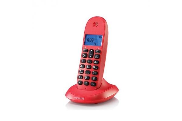 TELEFONO FIJO DIGITAL MOTOROLA C1001LB+ ROJO