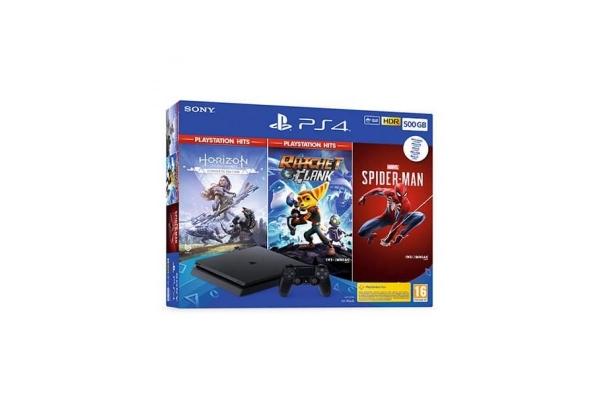 CONSOLA SONY PS4 SLIM 500GB HORIZON ZERO DAWN + RATCHET & CLANK + SPIDERMAN