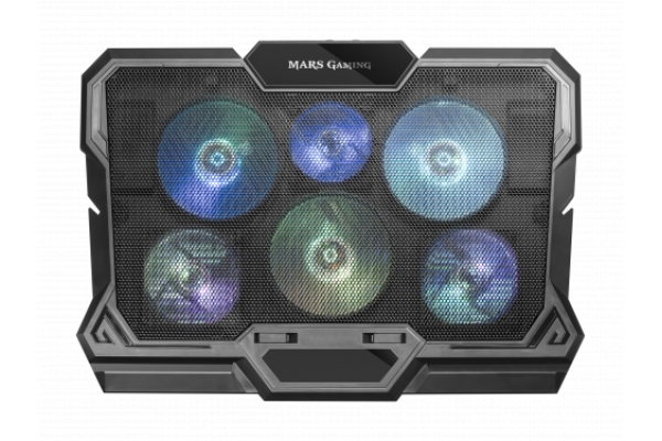 BASE REFRIGERADORA MARS GAMING MNBC4 NOTEBOOK COOLER, RGB FLOW, 6x FAN, DUAL FAN CONTROL,17.3