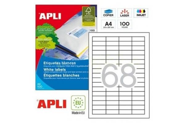 ETIQUETAS ADHESIVAS APLI 01282 48,5 x 16,9MM 100 HOJAS