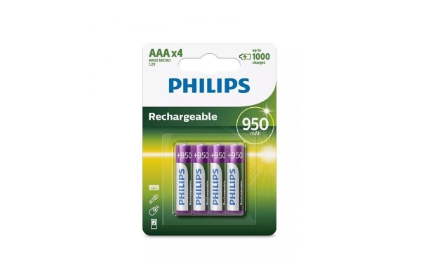 PACK 4 PILAS AAA PHILIPS R03B4A95 10 1,2V RECARGABLES