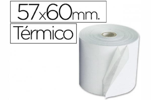 ROLLO PAPEL TERMICO 57MM A X 60MM D (10 UN)